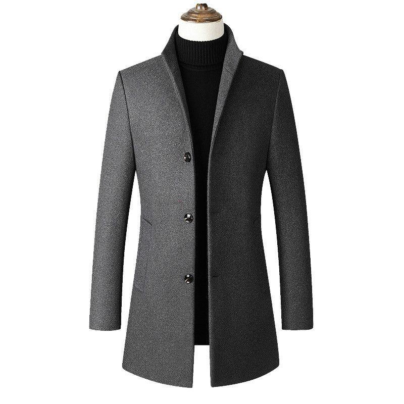 Осень Мужская ветровка куртка Тонкий Длинные Шинель Мужчины Плюс Размер пальто Мода 3xl 4XL Стенд Воротник Повседневный Wool Coat Мужской