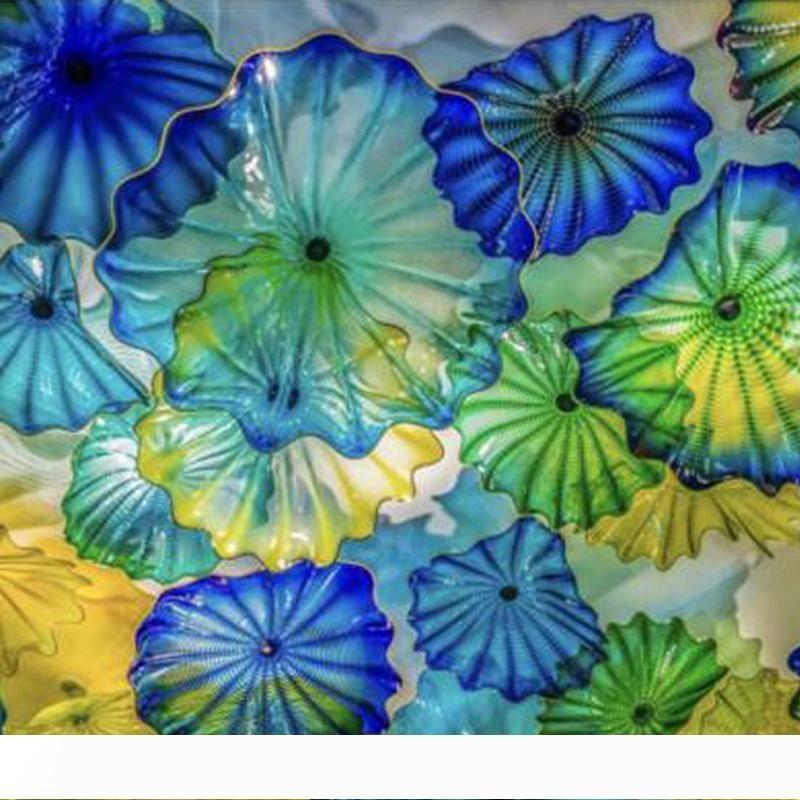 Lareira Decoração da flor de parede Arte Americana soprado placas de vidro Murano Wall Art Azul Verde Amarelo parede de vidro Iluminação frete grátis
