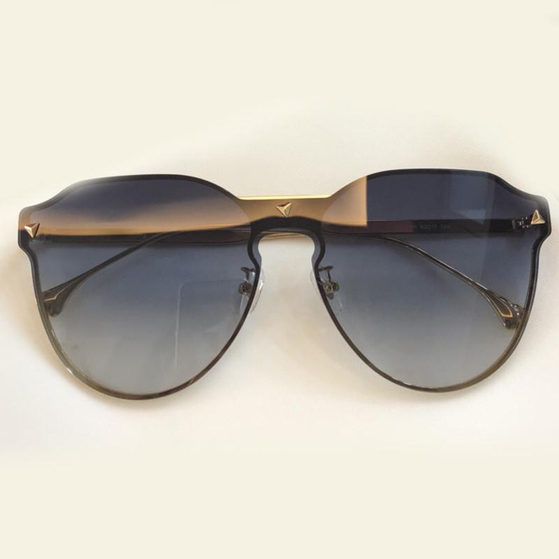Gafas de sol de la mariposa del espejo sin marco Gafas de sol de moda de lujo de gran tamaño gafas de sol femeninas sin rebordes de las mujeres con la caja original