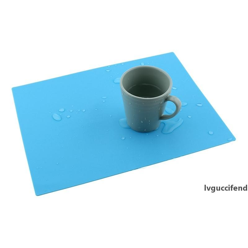28x21cm Silicone Table Mat Insulation Heat Pad Waterproof Fold Mat Non-slip Coaster Solid Color Bowl Holder Kitchen Accessories VT0606