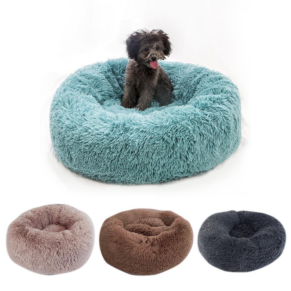 DIDIHOU peluche lunga Pet rotonda nido caldo morbido del gatto della base di sonno Small Medium cani Cuscino Inverno Pet Kennel Y200330