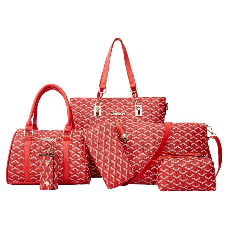 6pcs / set Tasarımcı Çanta Kompozit Çanta Lady Moda Kore Sürüm Stil Pu Kadın Çanta Omuz Crossbody Çanta Telefon Paketi İçin Kadınlar