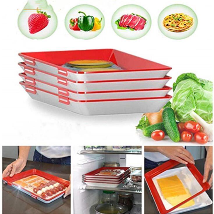 Aspiradora fresco de mantenimiento de la bandeja de Preservación Bandeja de almacenamiento de contenedores creativo sana Comidas sellado para frutas y verduras Tapa herramienta de la cocina Cena DHD32 Plate