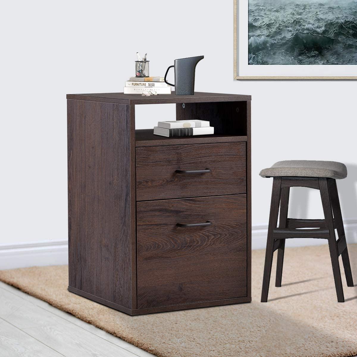 MDF verticale Cabinet, ergonomico Home Office File cabina sotto la scrivania con 2 cassetti, facile maniglione Design, Noce
