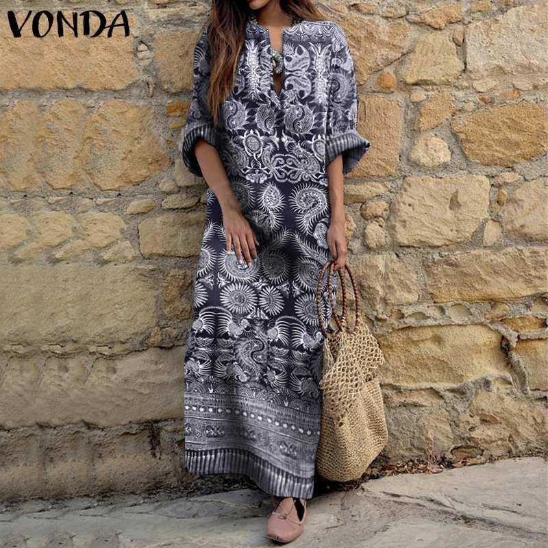 VONDA vestito largo 2020 Sexy scollo a V Vintage stampato maxi abiti plus size donne mezza manica Boemia Vestiti Femme Robe