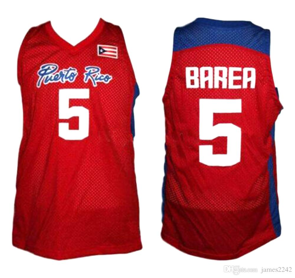 JOSE JJ BAREA # 5 Team Puerto Rico Basketball Jersey Rot autorisiert genäht Alle Retro-Throwbacks genäht Größe 2xs-4XL-Trikots