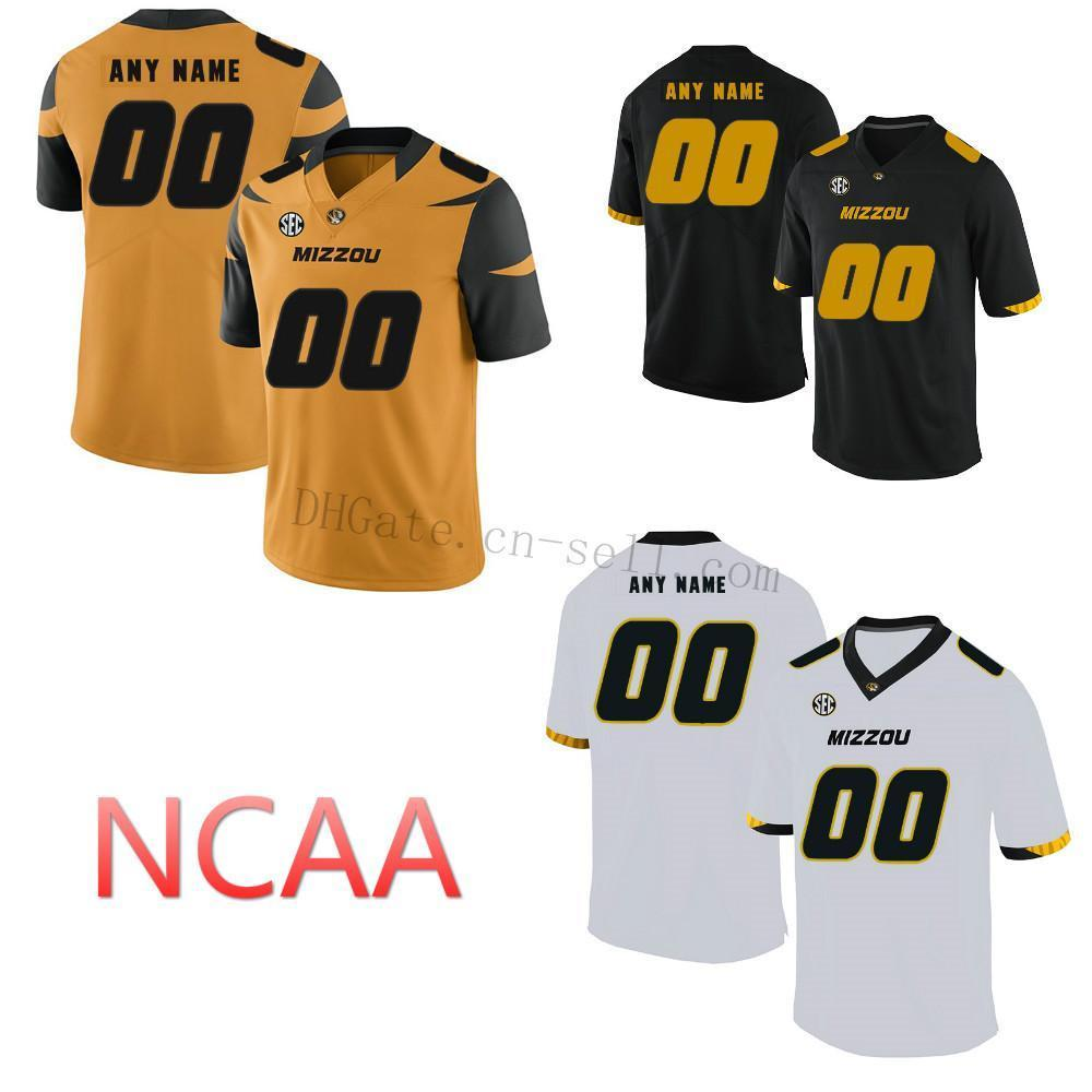 Пользовательские тигры Mizzou Tigers Missouri Любое имя S-XL сшитые черные белые золотые NCAA колледж футбольный футбол # 8 Джастин Смит Джерси