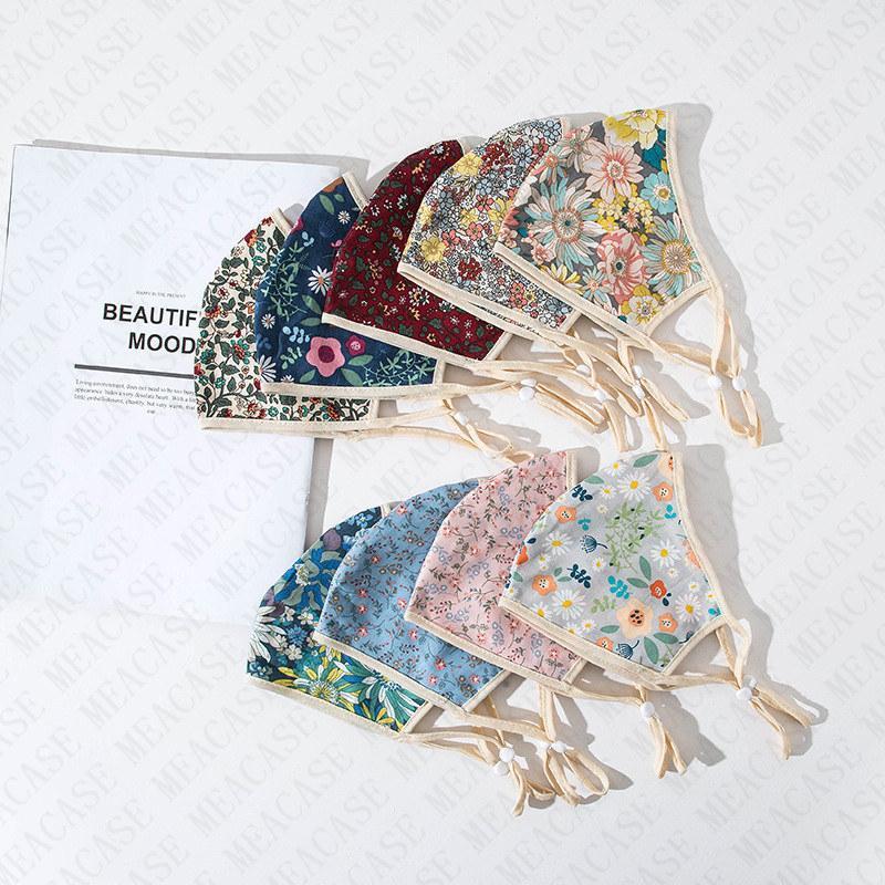 Lavabile floreale Camouflage Maschera Unisex fiori doppi strati maschere in morbido cotone antipolvere mezza Fcae Bocca copertura Summer Fashion D71516