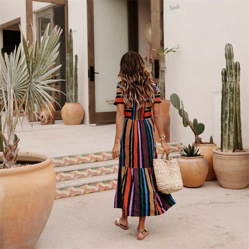 New Womens Verão Bohemian vestido de manga curta longa Sete listras coloridas redondas Maxi Vestidos Collar Splice Party Dress Praia