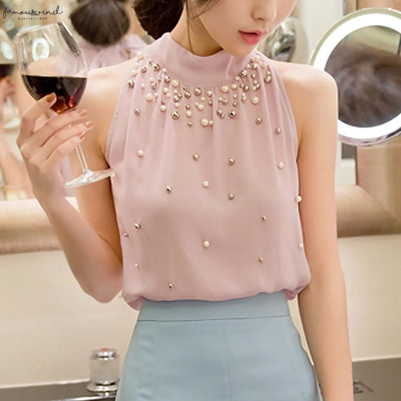 Verão Womens elegante Beading Chiffon blusa sem mangas Office Lady Pérola Beading Turtleneck shirt coreano Mulheres Tops Plus Size S 3XL