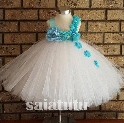 çiçek peri fildişi ABD Kızlar Yılbaşı Prenses Gelinlik Çocuk Elbise Tutu Parti Doğum Çocuk Elbise Noel Vestido PURL #