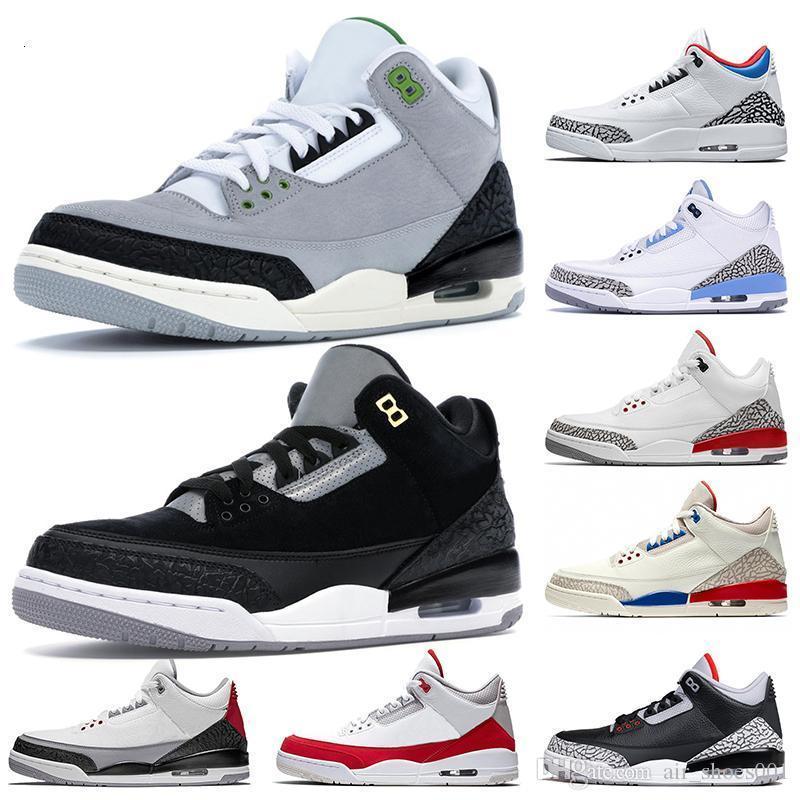 Para hombre de los zapatos de baloncesto Tinker 3 3s Cemento NRG Negro clorofila reflectante línea de tiros libres Katrina Internacionales de Air Entrenadores zapatillas de deporte