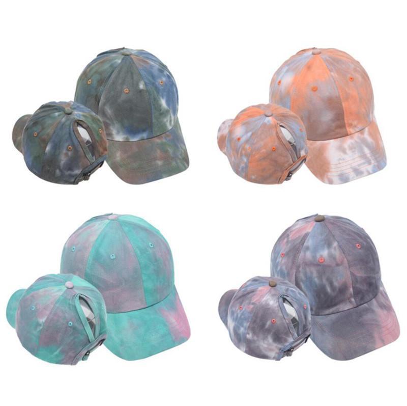 At kuyruğu beyzbol şapkası kadın yıkanmış snapback golf kapaklar dağınık topuz şapka rahat yaz koşu spor şapka moda kravat boya