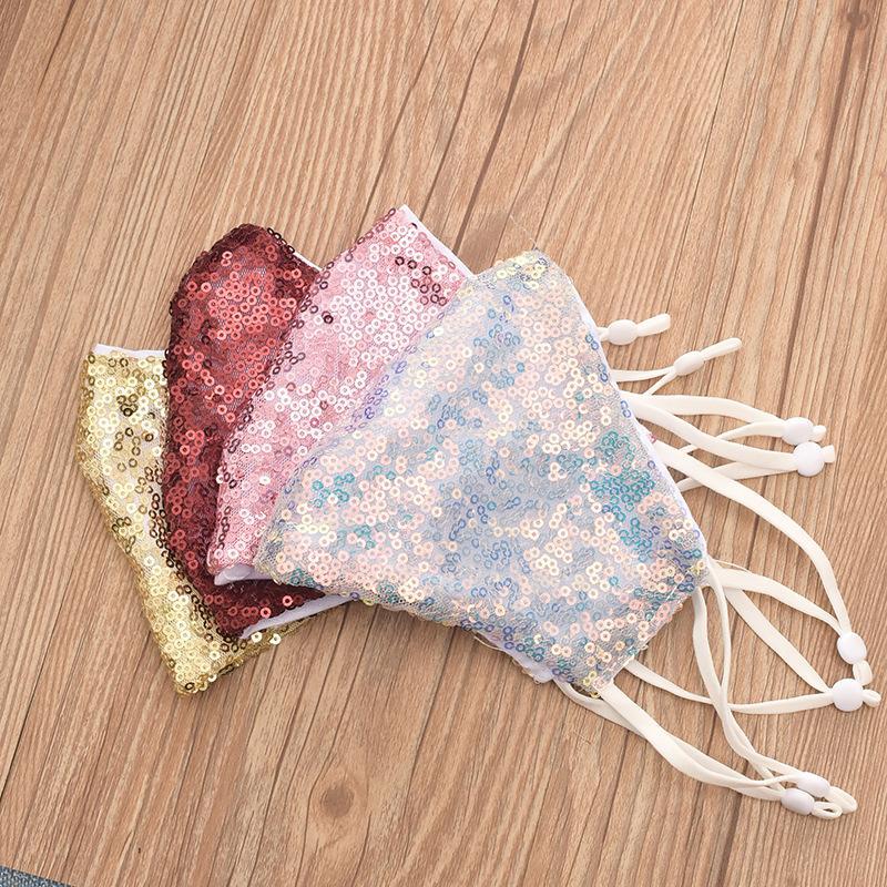 DHL Livraison gratuite bling bling Sequin de protection Masque anti-poussière lavable coupe-vent visage Réutiliser Masque élastique Earloop Masque bouche