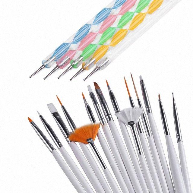 20 pcs / set unhas Tools Escova de Unhas Dotting Pintura Desenho Pen prego Agel polonês Brushes Ferramentas QrIq #