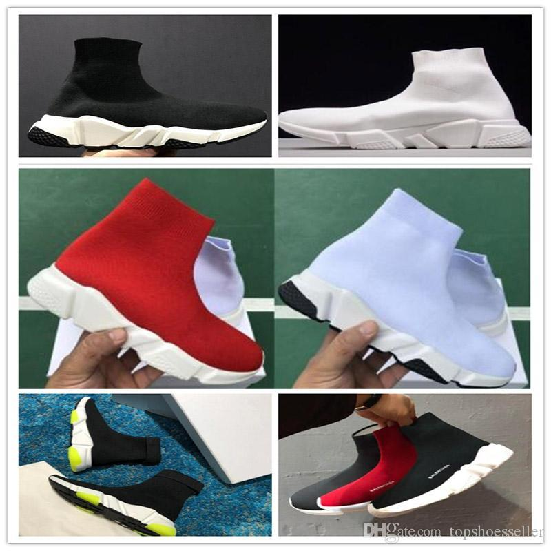 top Quality Red Yellow Speed Trainer Casual Shoe Man Woman Sock Boots With Box Stretch-Knit Casual Boots Race Runner Cheap Sneaker High Top