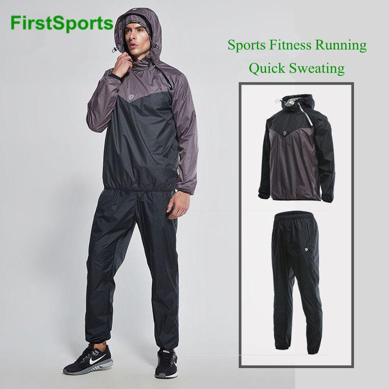 Marca Sports Workout Sauna Suit homens encapuzados corredor da ginástica Set Indoor roupa da aptidão Treinamento perder 2pcs Peso Transpiração Sportswear