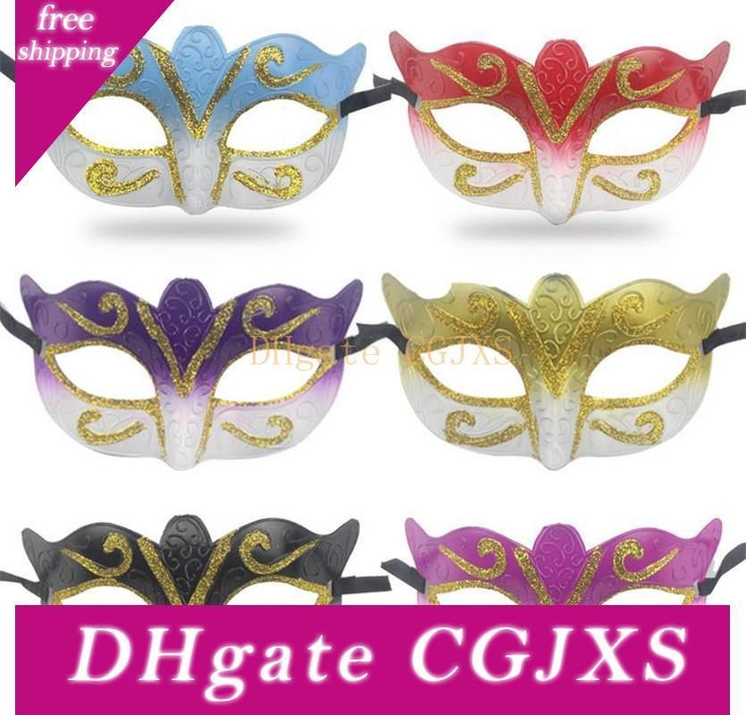 10pcs=1lot Party Mask With Gold Glitter Mask Venetian Unisex Sparkle Masquerade Venetian Mask Mardi Gras Costume ST015