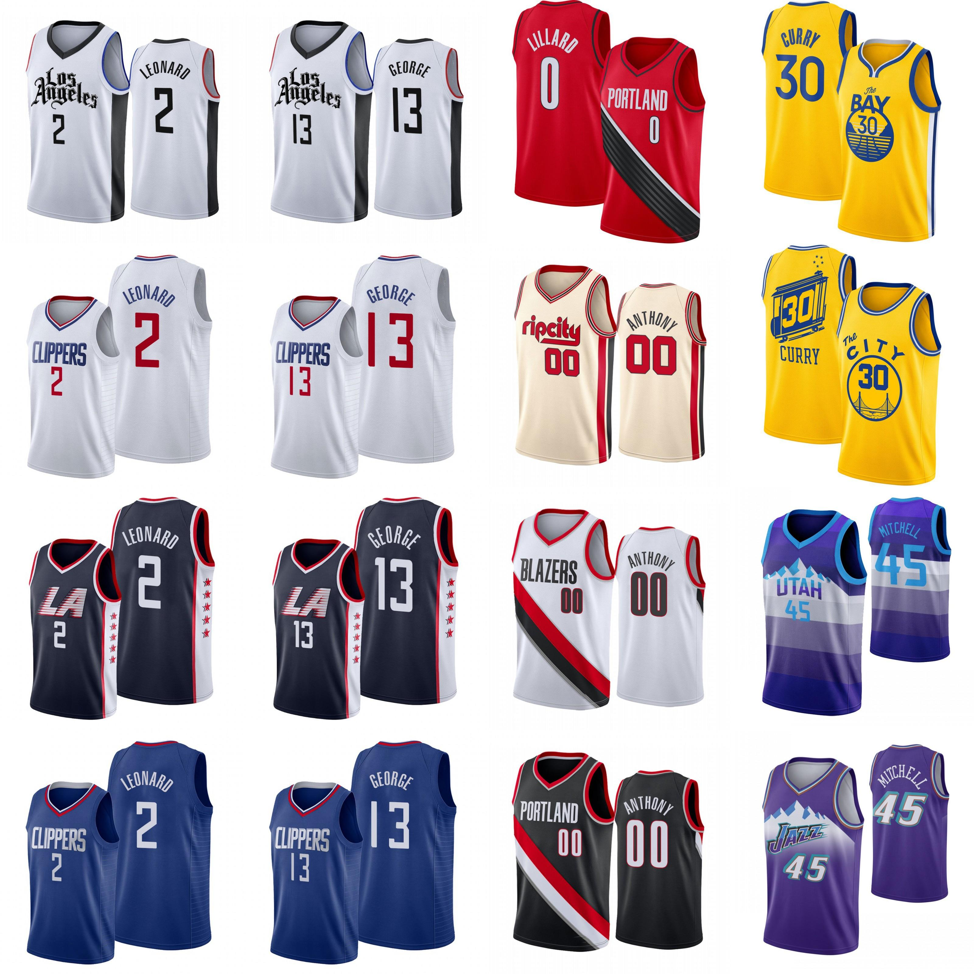Stephen 30 Curry Carmelo 00 Anthony Damian 0 Lillard 2 Leonard Paul 13 George Donovan 45 Mitchell Men College High school Basketball Jerseys