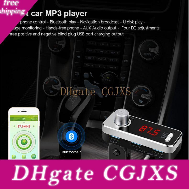 New Come Car Mp3 Player Bluetooth Fm Transmitter Wireless Fm Modulator Car Kit Handsfree Lcd Display Usb Charger For Iphone X 8 Samsung