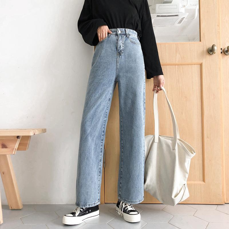 Pantalones vaqueros de mujer floja de cintura alta Harem pantalones ocasionales de los novios Mom Jeans Streetwear Vaqueros Pantalones Hembra