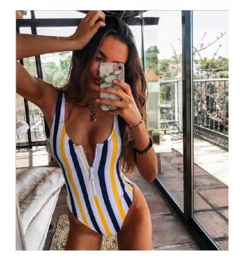 2020 Striped Swimwear One Piece Swimsuit Women Backless Monokini Swimsuit Sport Bodysuit Beach Bathing Suit Swim Red White