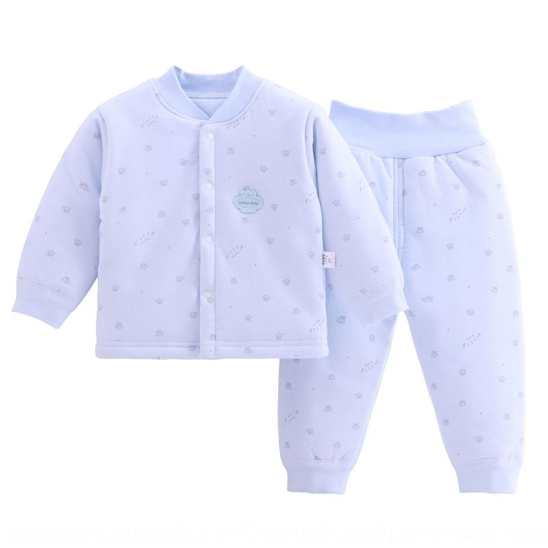New baby suit door button warm thin cotton Warm cotton-padded Cotton-padded clothes season thickened baby cotton clothes