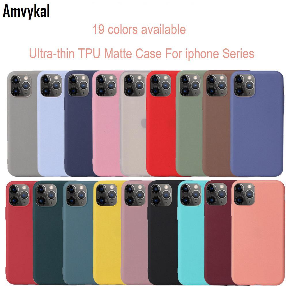 19 Şeker Renk Telefon Kılıfları iphone 12 Pro Max Mat Yumuşak Silikon TPU Arka Kapak iphone12 12pro 12mini