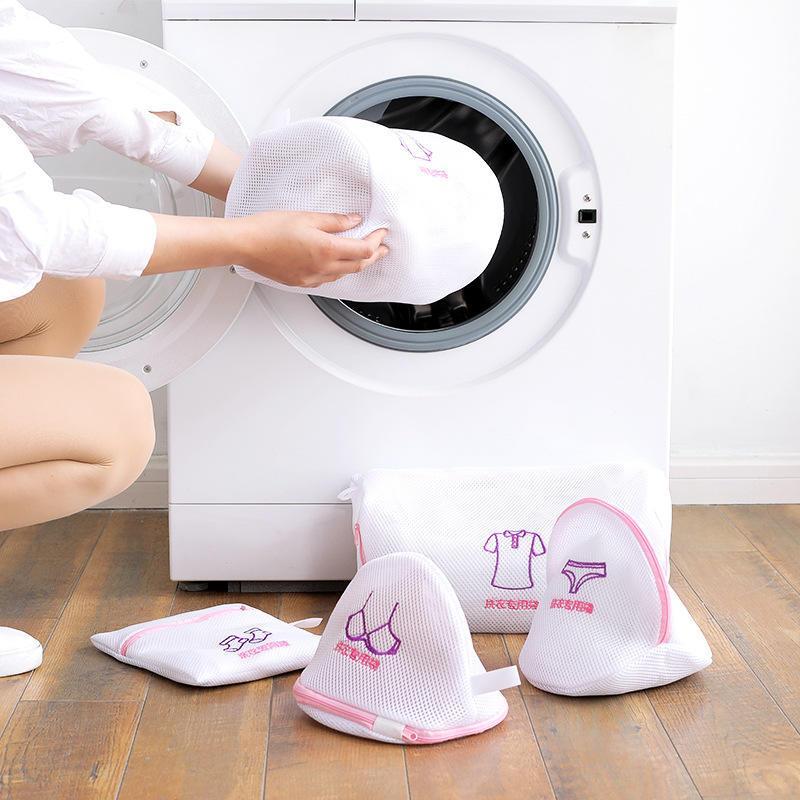 Bordado mais espessa malha de malha de cuidados lavar pacotes dobrável pacote doméstico Net zipado saco de lavanderia terno sutiã máquina de lavar roupa suprimentos