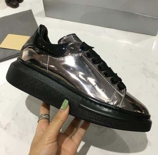 Mens Womens Mens Womens Moda Sneakers mais homens do desenhista Luxo calçados casuais Melhor alta qualidade formadores de couro branco Plataforma 21