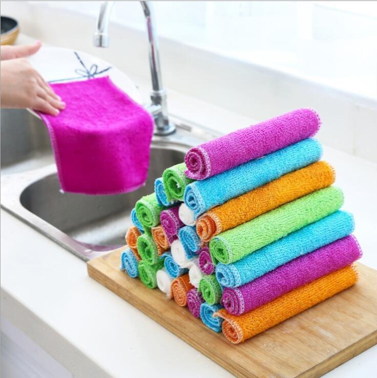 Towel Bamboo Fiber Stove Sink Cleaning Washcloth Dish Pan Oil Stains Removing Cloth Travel Camping Towels Cleaning Facecloth Tools LSK381l