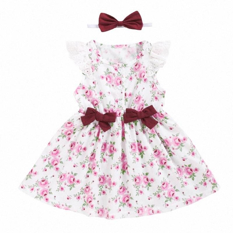 Floral dulce de vestir para niños de verano linda del botón del arco hacia abajo del vuelo de la manga vestido de princesa con diadema 1-5 años NjxS #