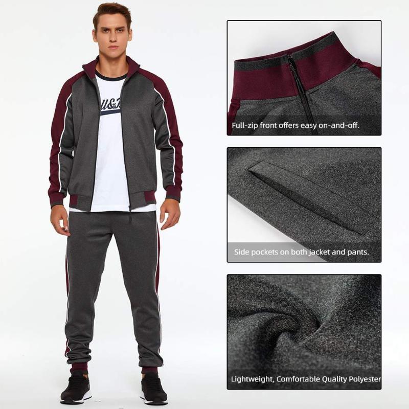 Establecer los hombres camiseta de la cremallera + Pantalones Conjuntos Hombre chándal casual chándal hombres se adapta más el tamaño de deporte aptitud de los deportes