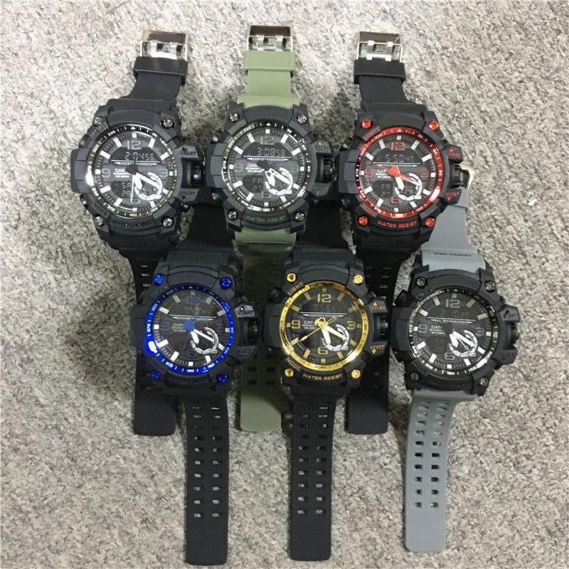 Shock Digital-LED-Männer Sport-Armbanduhr-Schwarz-Gold Military Armee-Grün Shock Uhren Wholeasle Sport Studenten Outdoor-Uhr Dropshipping