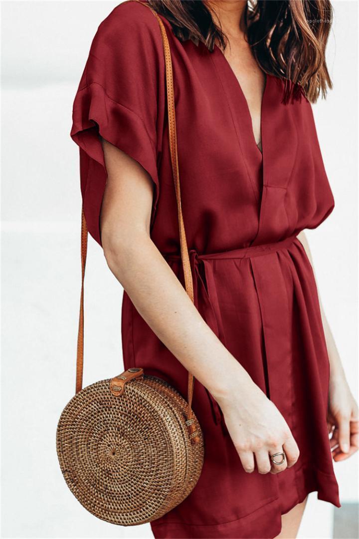 Сыпучие сплошной цвет женщин платья лета V шеи кнопки с коротким рукавом женщин Дизайнерские Повседневные платья с поясом