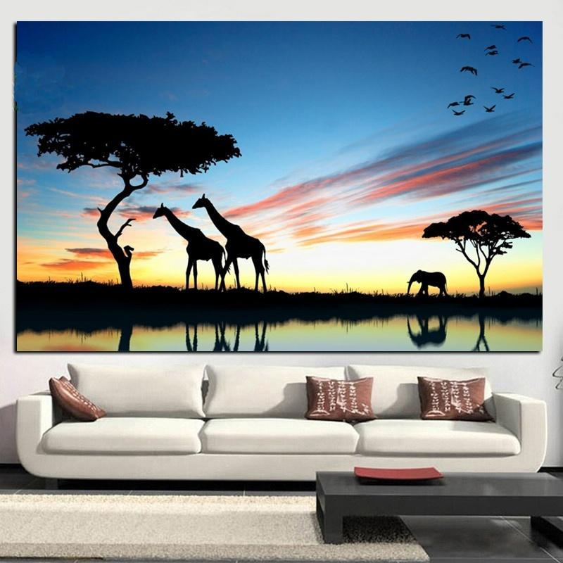 Modern African Elephant Sunset Landscape Canvas Painting Scandinavian Poster Prints Wall Art Picture for Living Room Home Decor