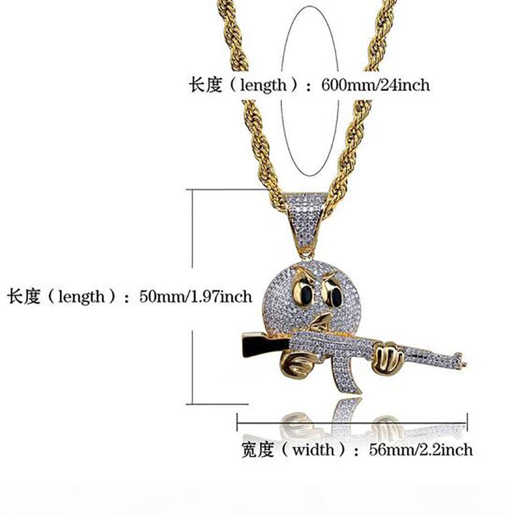 E-Männer Cz Emoji Gesicht Halten Gun Hip Hop-Anhänger Bling Bling Mikro pflastern Zirkonia Halskette 18k Gold überzogene Schmucksachen mit Geschenk-Kasten