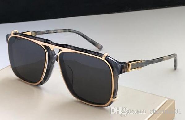 L'ultima vendita popolare mens moda occhiali da sole di lusso piastra lente piazza UV400 telaio combinazione di metallo di alta qualità con la scatola