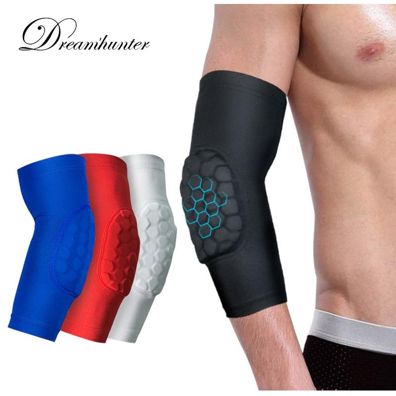 1PCS Elastic Basketball Elbow Pads Volleyball Arm Sleeve Crashproof Honeycomb Elbow Support Protector Guard Sport Safety