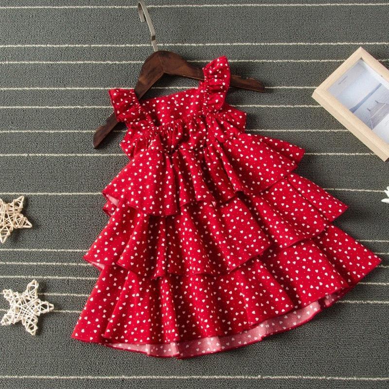 Sin mangas del vestido de bola rojo lindo vestido de fiesta vestido de la muchacha del cabrito de las muchachas niños niña vestidos de verano del cuello de O Cake rizado Tutu burbuja gie1 #