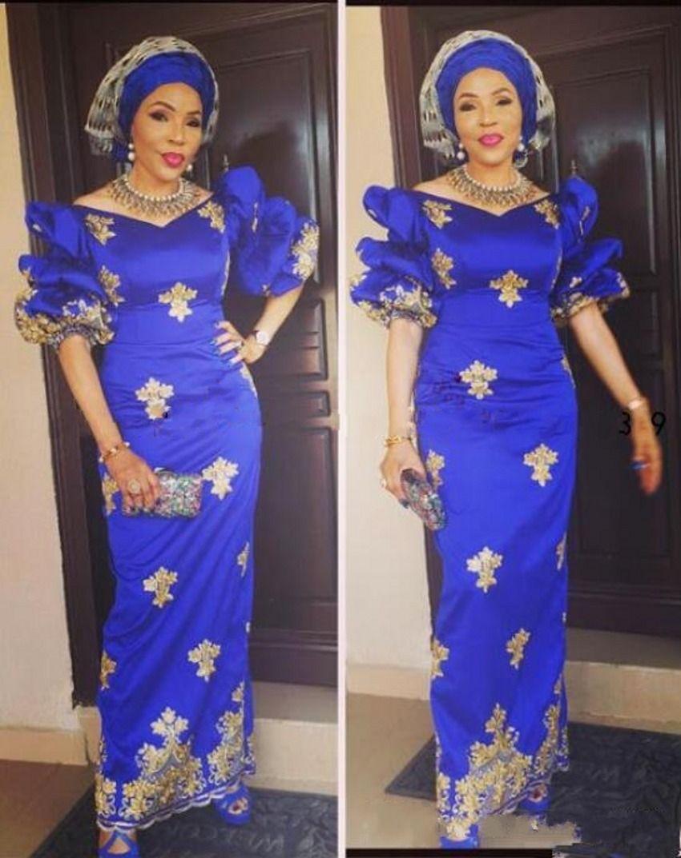 Vestidos de noite do vintage dos azuis marinhos África com mangas curtas laço do ouro apliques vestido de baile formal do partido do vestido vestido de festa
