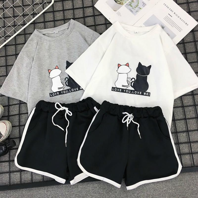 Milinsus Summer 2020 Tshirts Top and Shorts Two PCS Set Tracksuit Female Striped Beach Casual Shorts 2 Piece Outfits for Women T200716