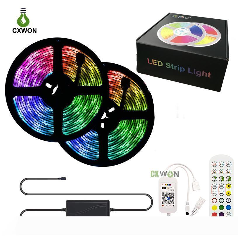 RGB LED Strip Lights 30LEDs M Waterproof 5M 10M Strip Kits With WIFI Bluetooth Music Sync 24keys Remote Controller and Adapter