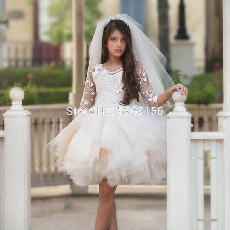 الفتاة فساتين قصيرة زهرة فتاة للزفاف الركبة طول جوهرة الرباط زين الفتيات مهرجان مع نصف كم مطرز وشاح