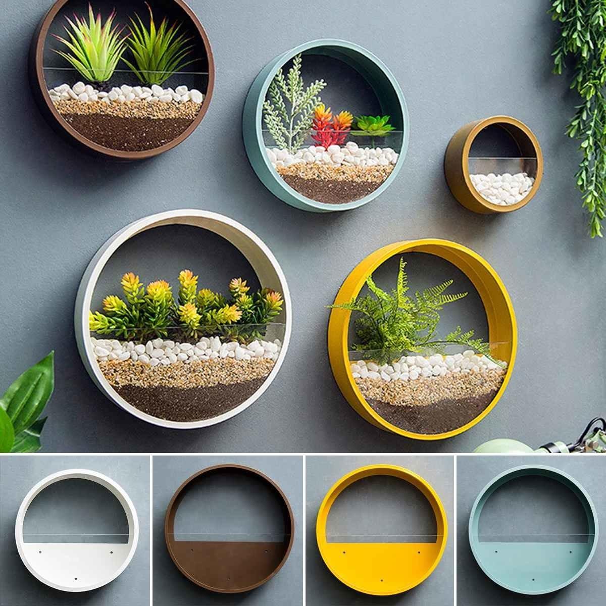 Modern Round Iron Wall Vase Home Living Room Restaurant Hanging Flower Pot Wall Decor Succulent Plant Planters Art Glass Vases CJ191226