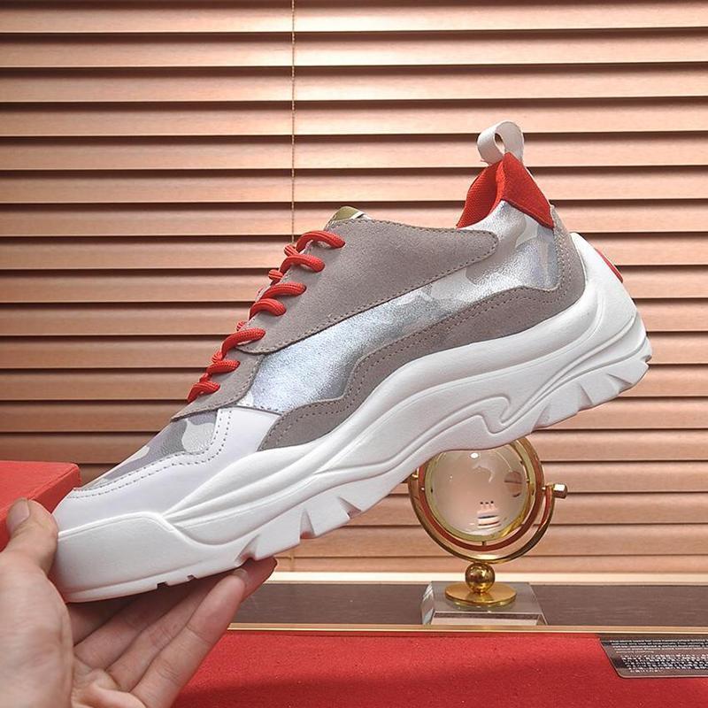 Luxo Gumboy bezerro Sneaker Mens Shoes Scarpe Sportive Da Uomo leve e respirável Vintage Lace -Up Low Top Tipo Casual Men Sh