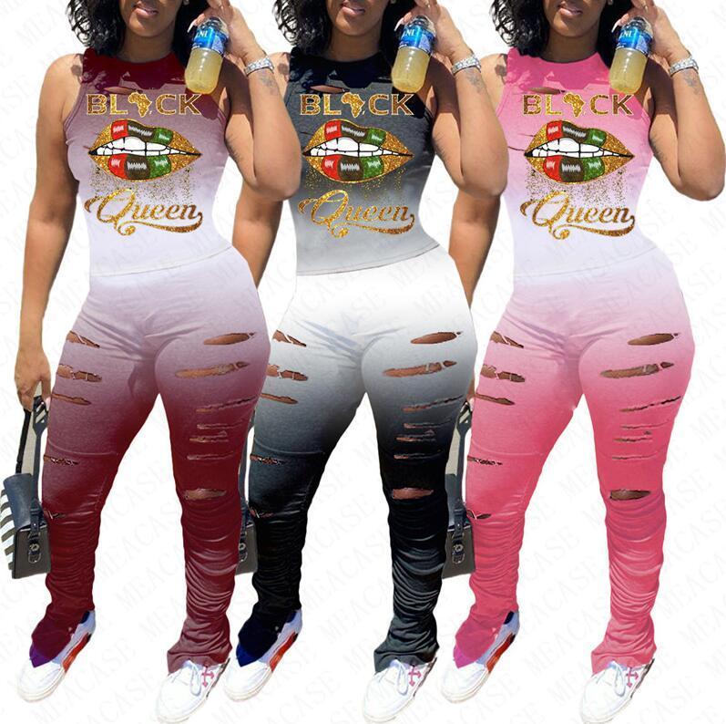 Femmes Lèvres Survêtement lettres Designer manches Débardeur T-shirts T-shirt Ripple Holes Pantalons deux pièces Tenues Sportwear gradient L-4XL D71609