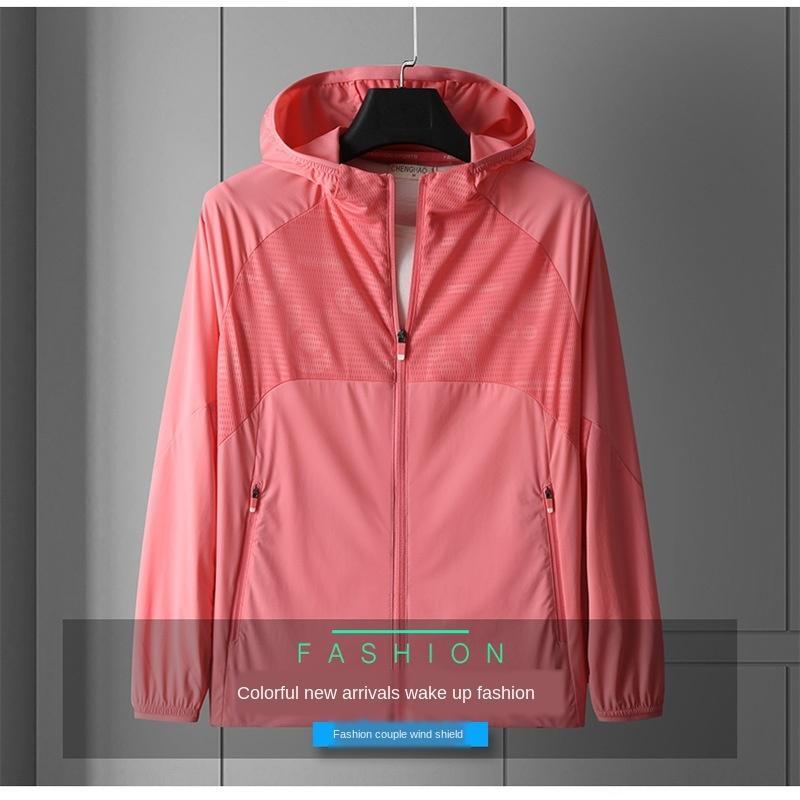JnROO Skin wo breathable mesh stitching sunscreen clothes coat sunscreen clothes elastic sports hoodie jacket men's summer coat men's clothi