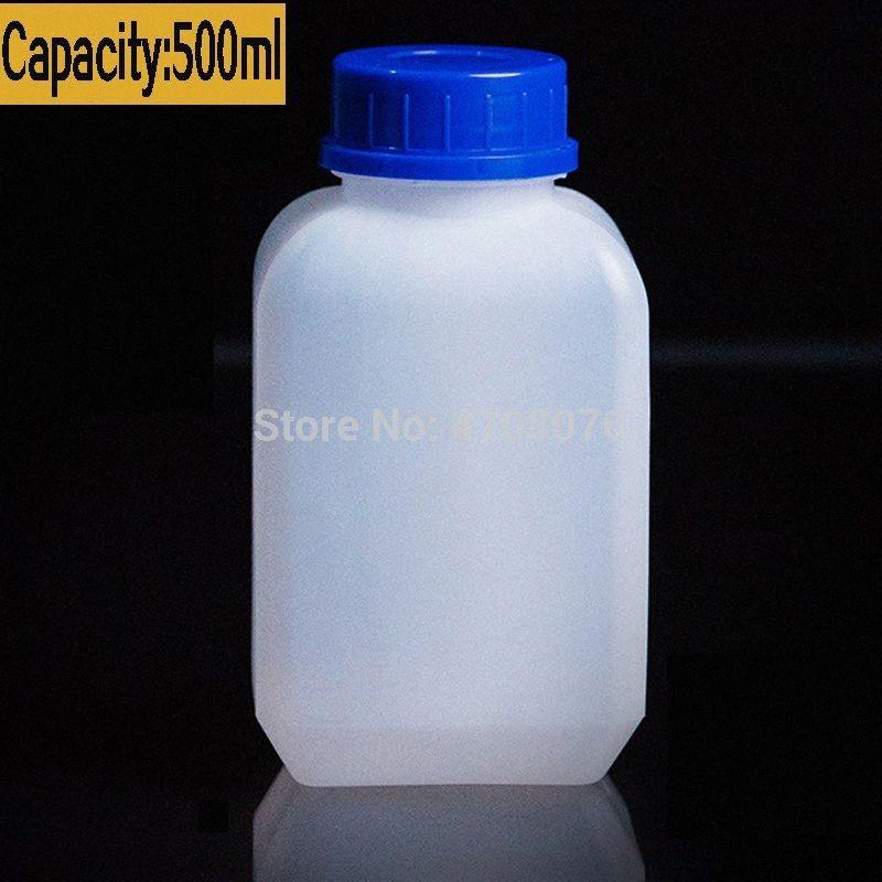 PE lab diebstahlsicher Reagenzflasche mit Skala Plastikprobenflasche mit Schraubdeckel flach für Experiment 500ml 6pcs / pack 4XLN #