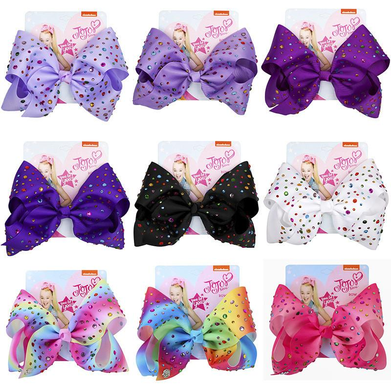 Ins Baby 8 Inch Swia Bow Cute Bowknot Hairpin With Diamond Dot Girl Large Bowknot Barrette Colorful Bow Floral Hair Clip Accessory Top Sale